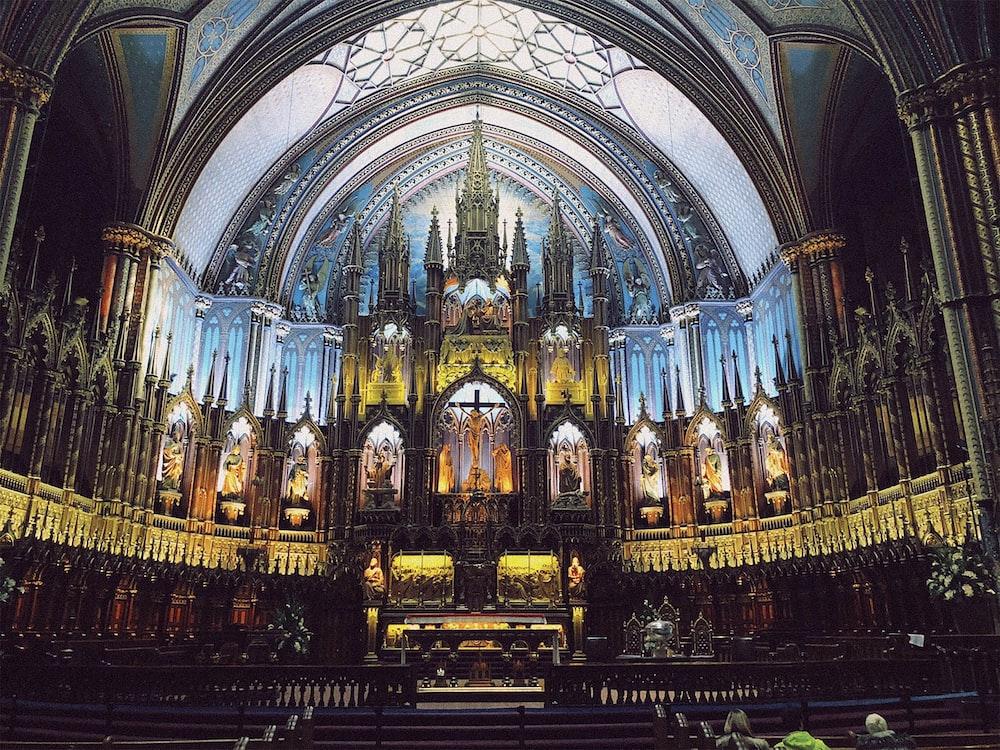 multicolored cathedral interior