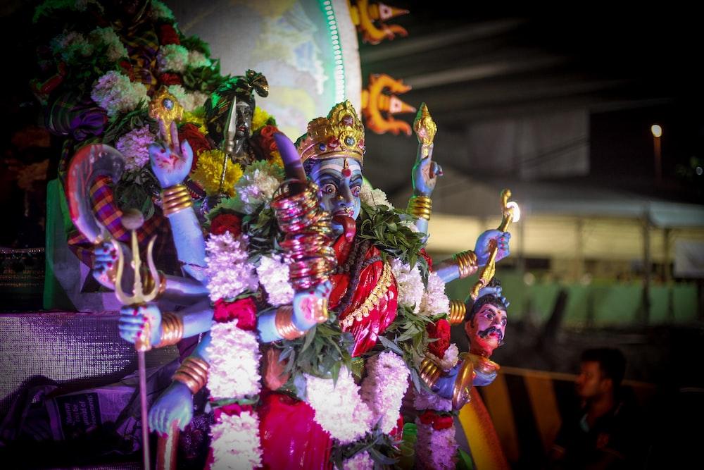 Hindu deity at night