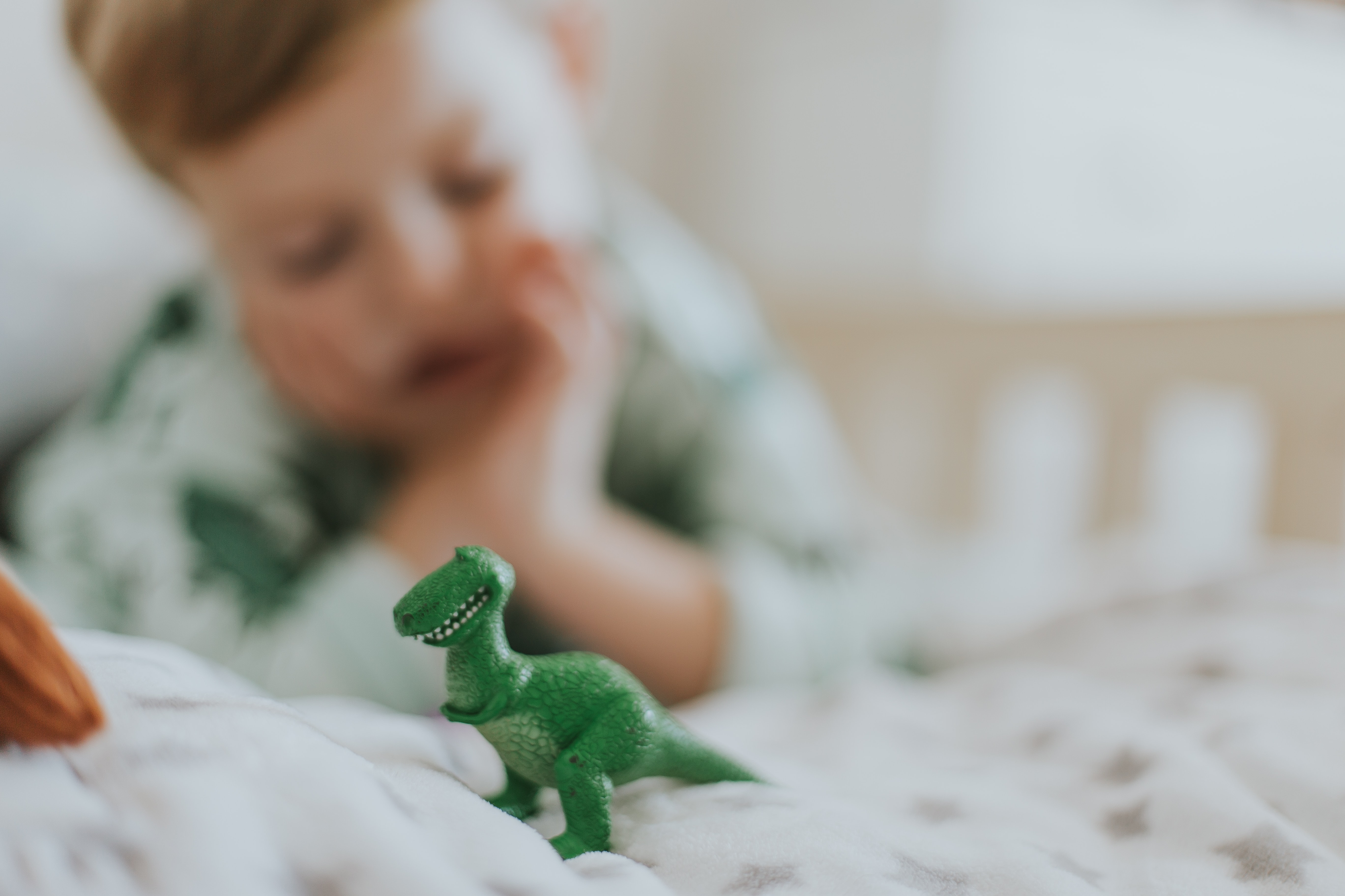 forced-perspective photography of green dinosaur figurine