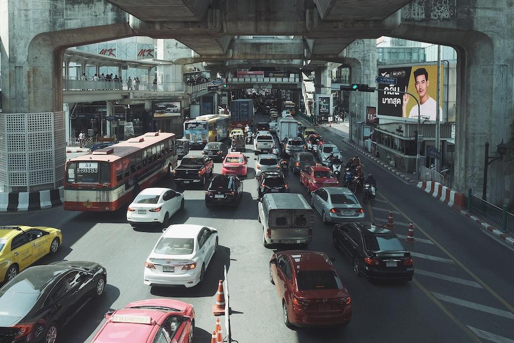 vehicle crossing on road