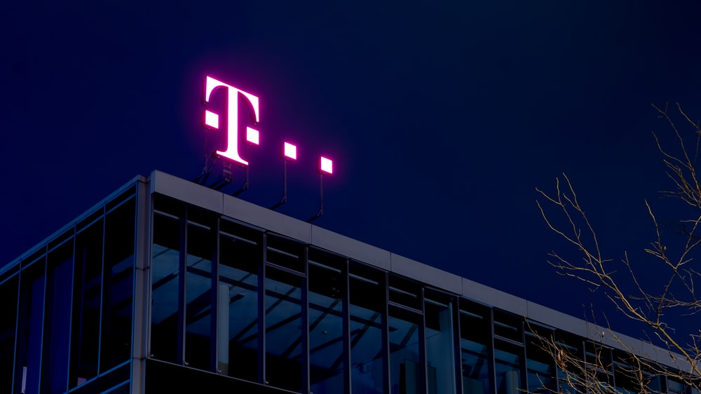 lighted signage of T-mobile