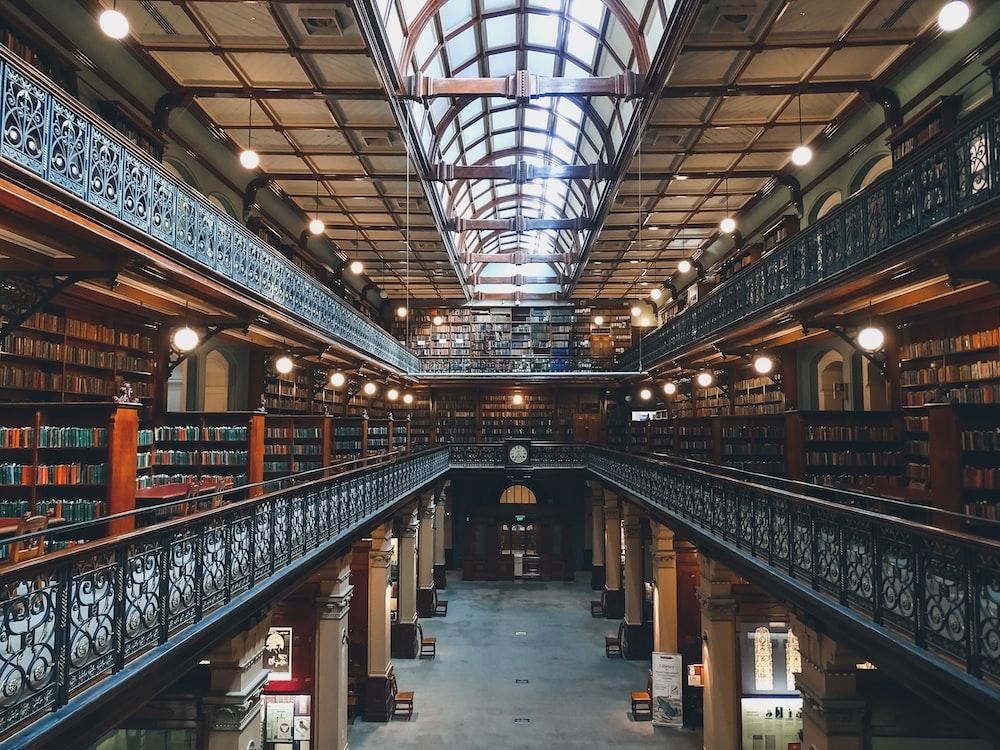 3-storey library interior