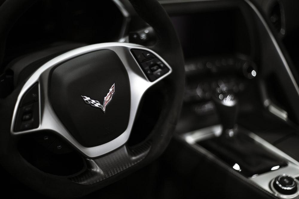 black and gray Chevrolet Corvette steering wheel