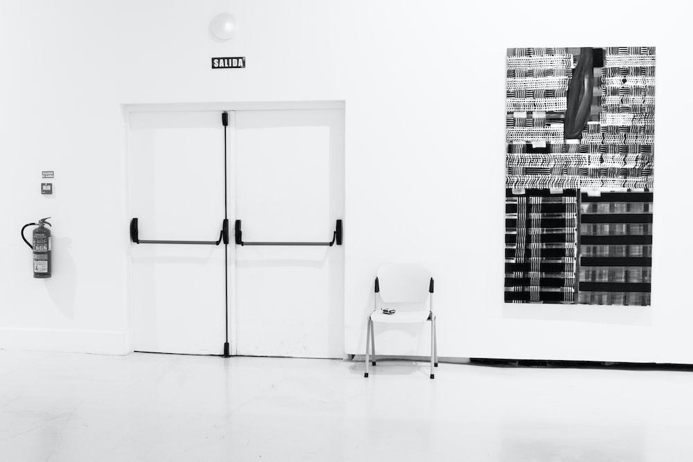 closed white door