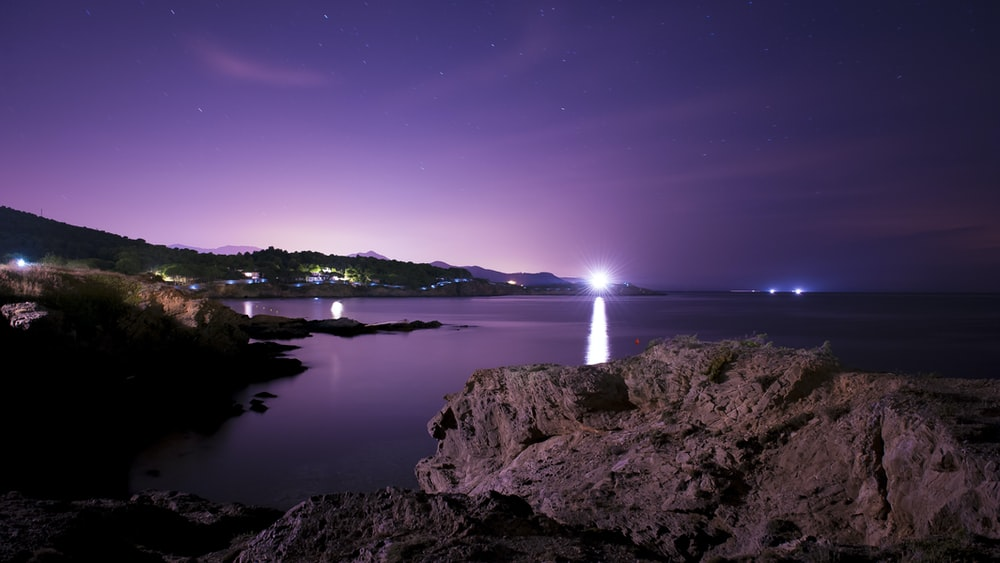 sea view during night
