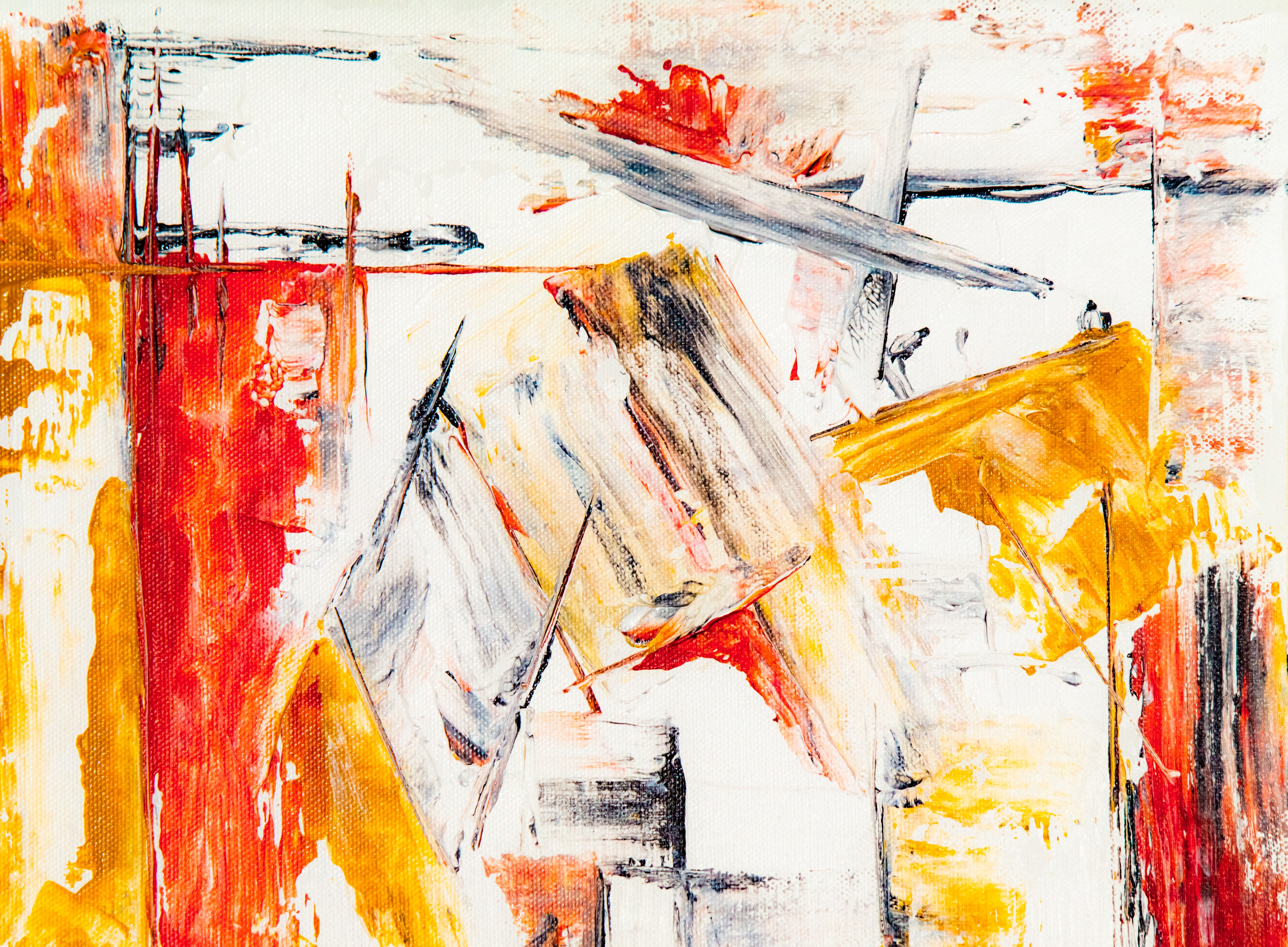 white, yellow, and red abstract painting