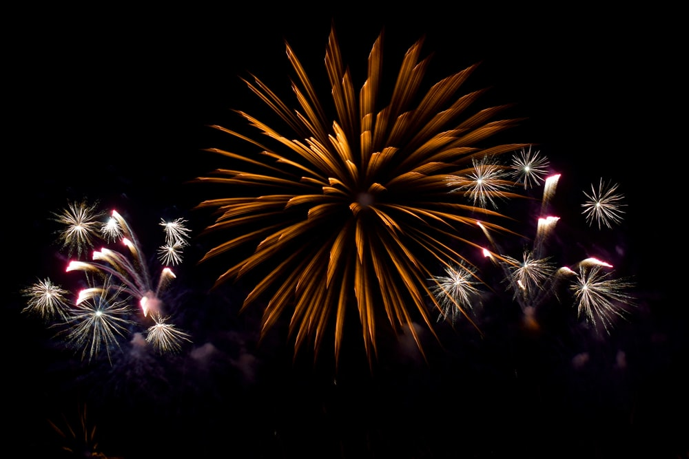 long exposure photography of fireworks