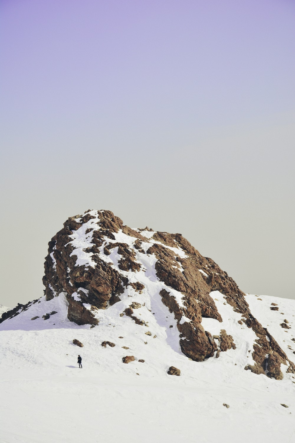 snow covered cliff
