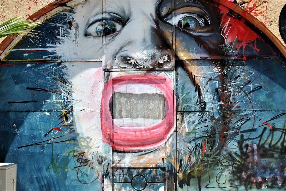 person's face wall graffiti