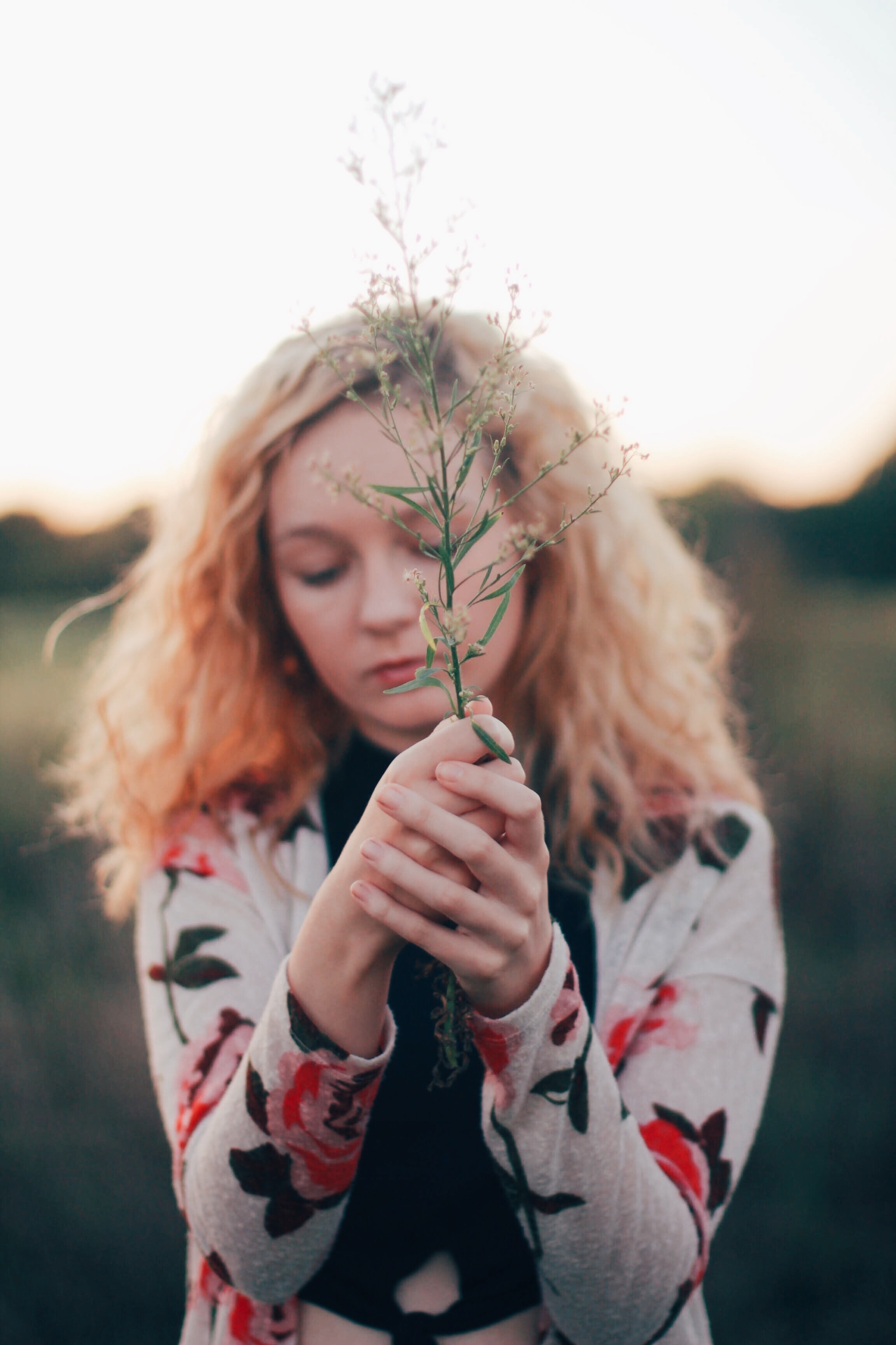 selective focus photo of woman holding white flower