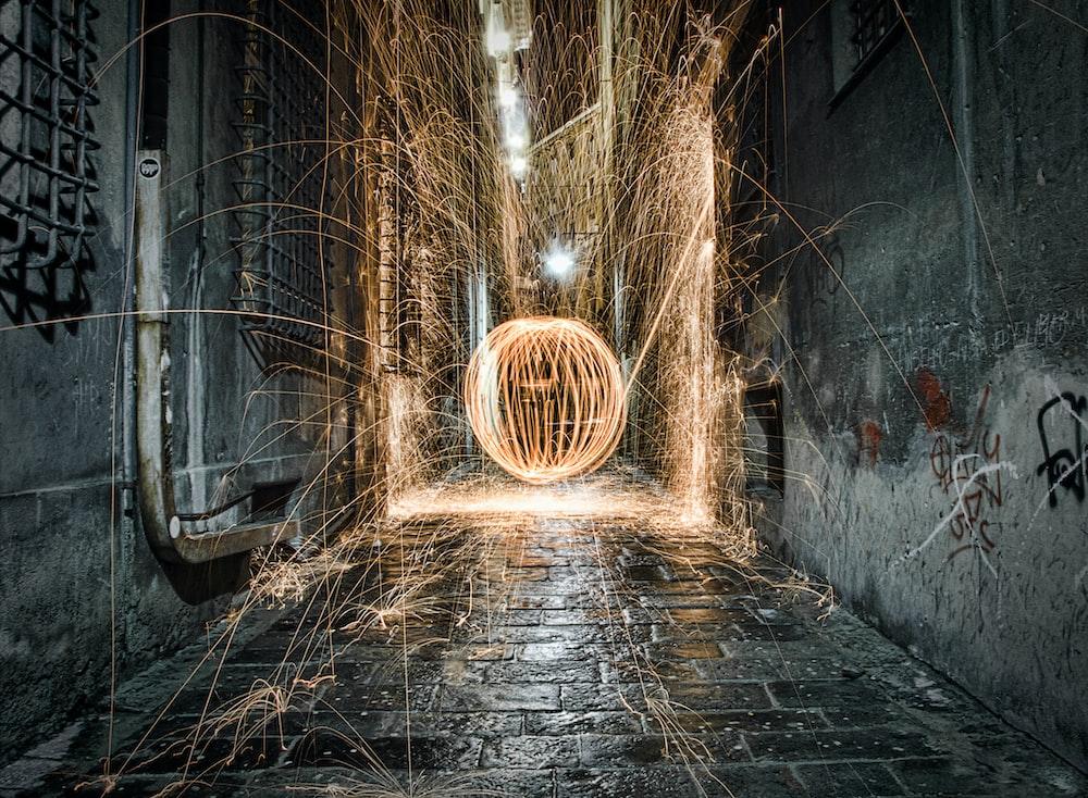 long exposure photography of firecracker