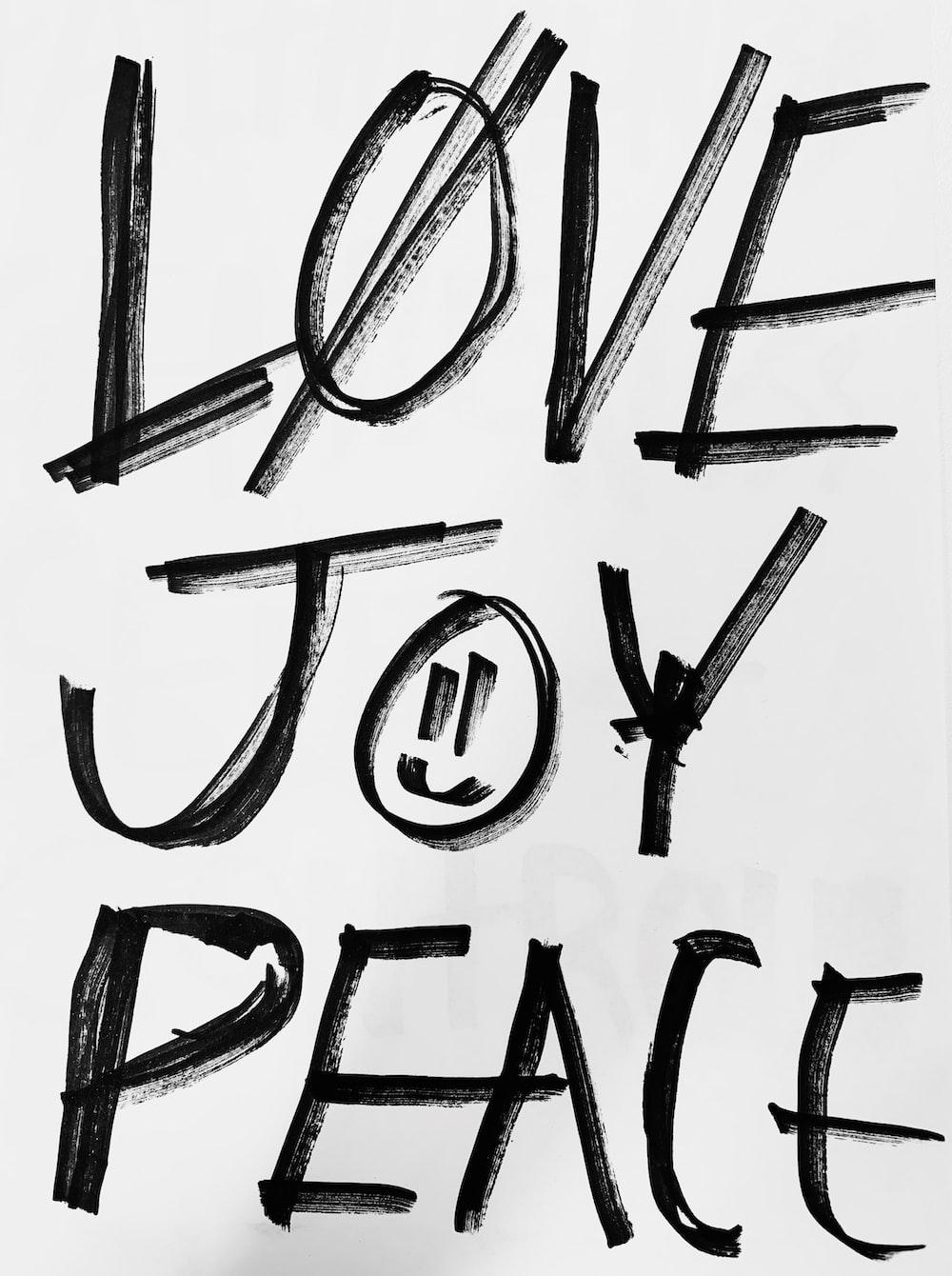 love joy and peace text