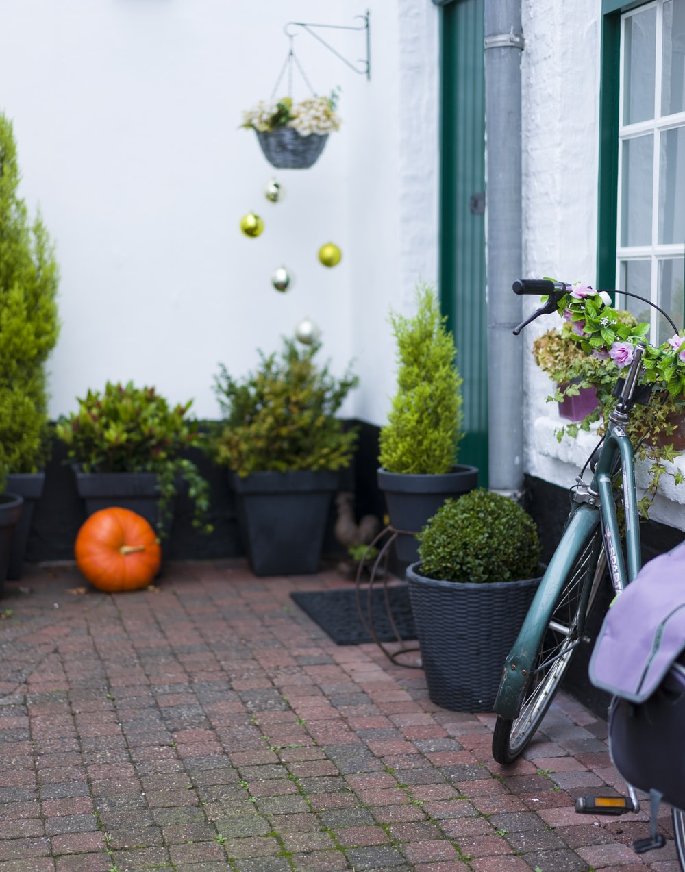 green bicycle parked beside white and green house