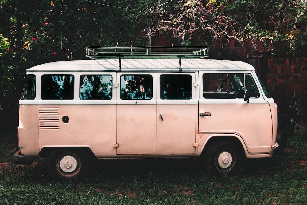 white and pink van
