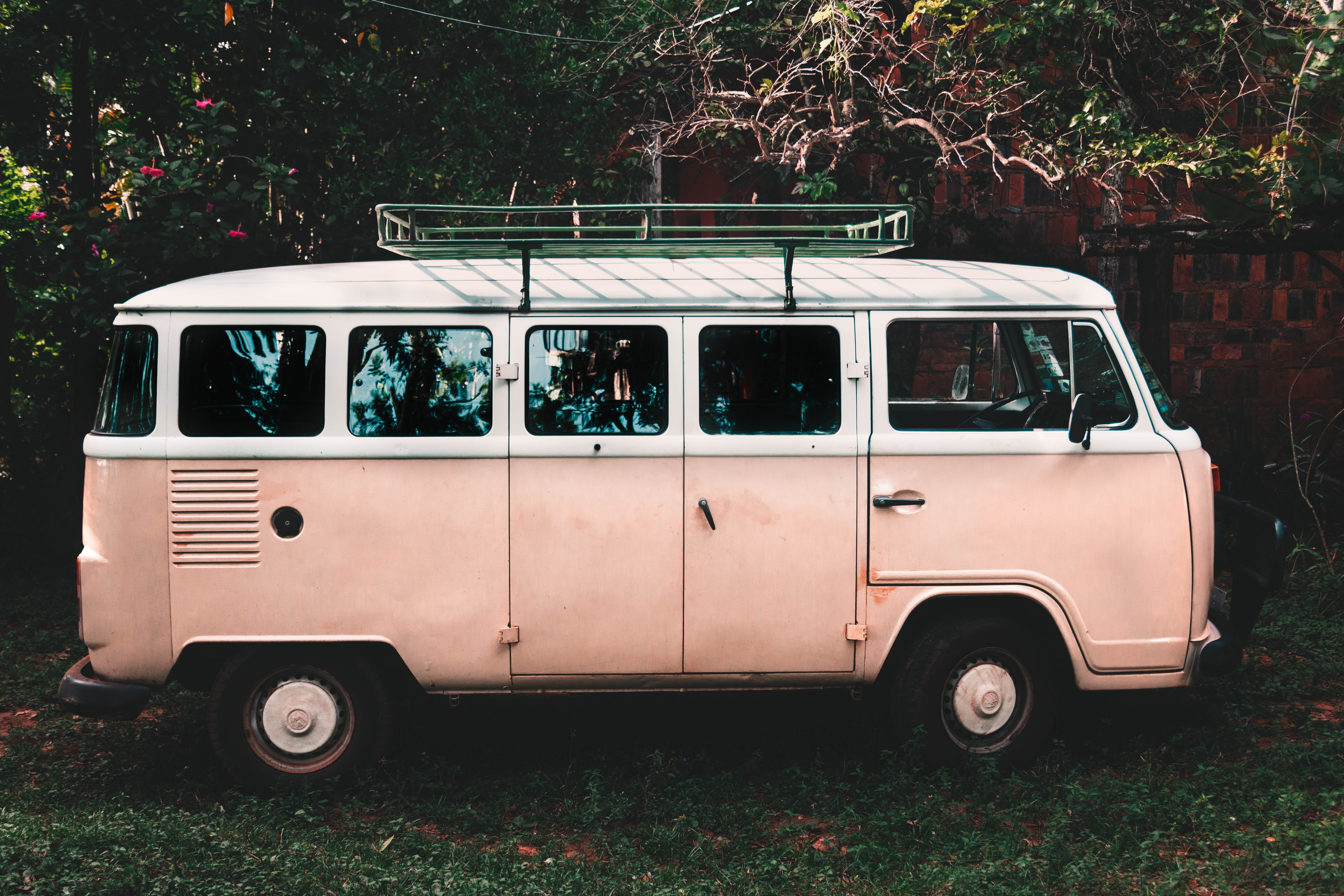 white and pink van