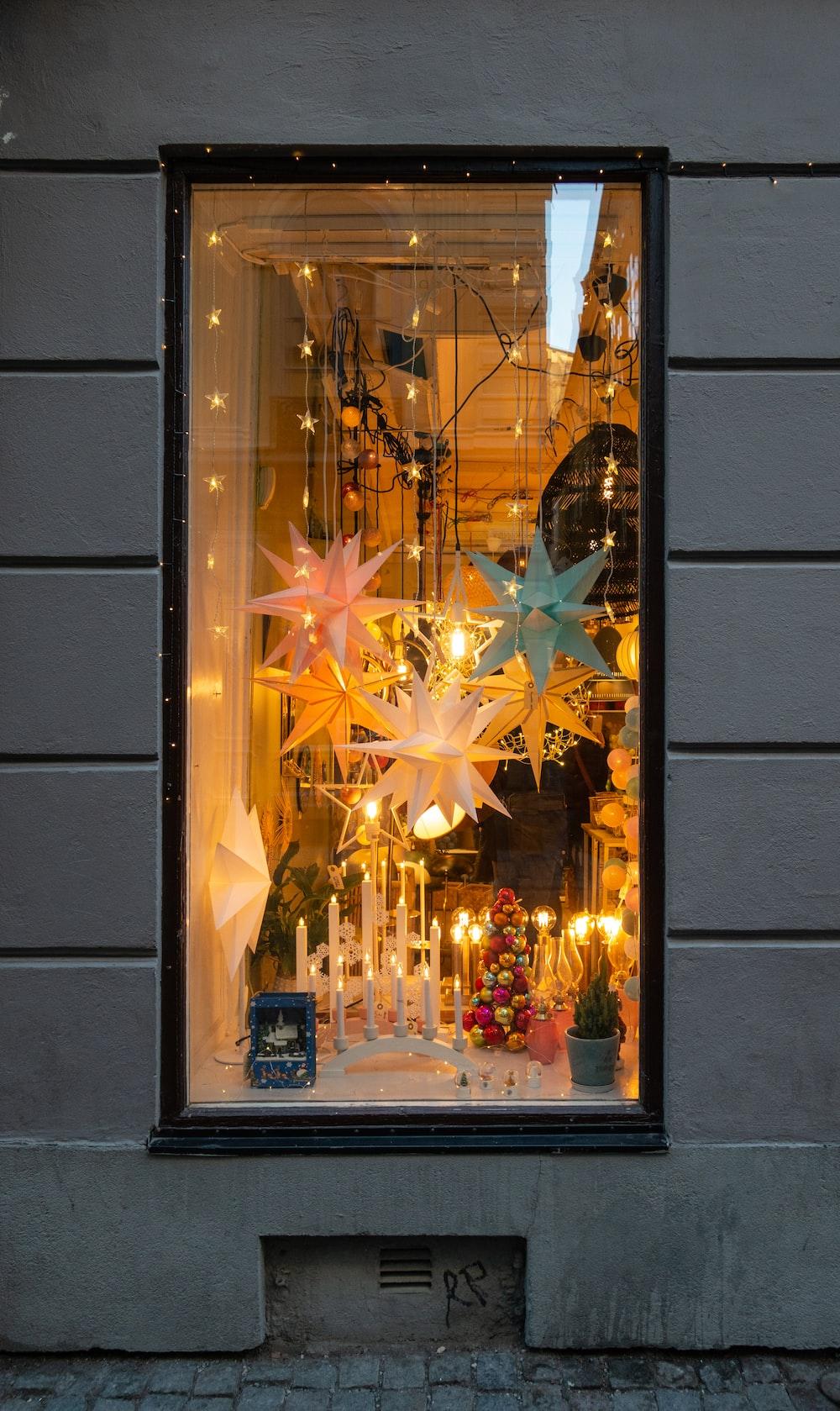 lighted star ornament inside room