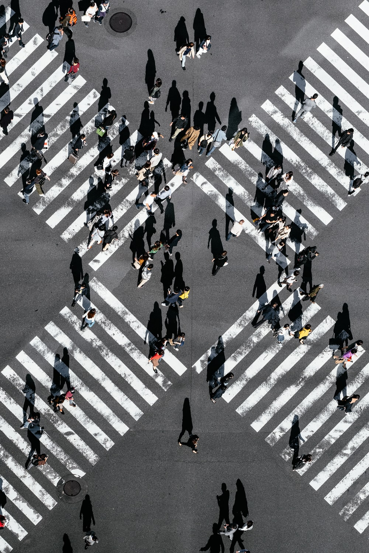 aerial view of people walking on cross pedestrian lane
