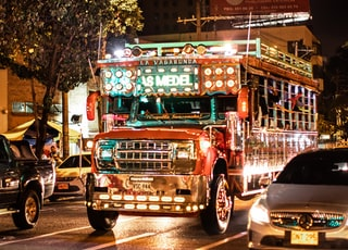 lighted red jeepney