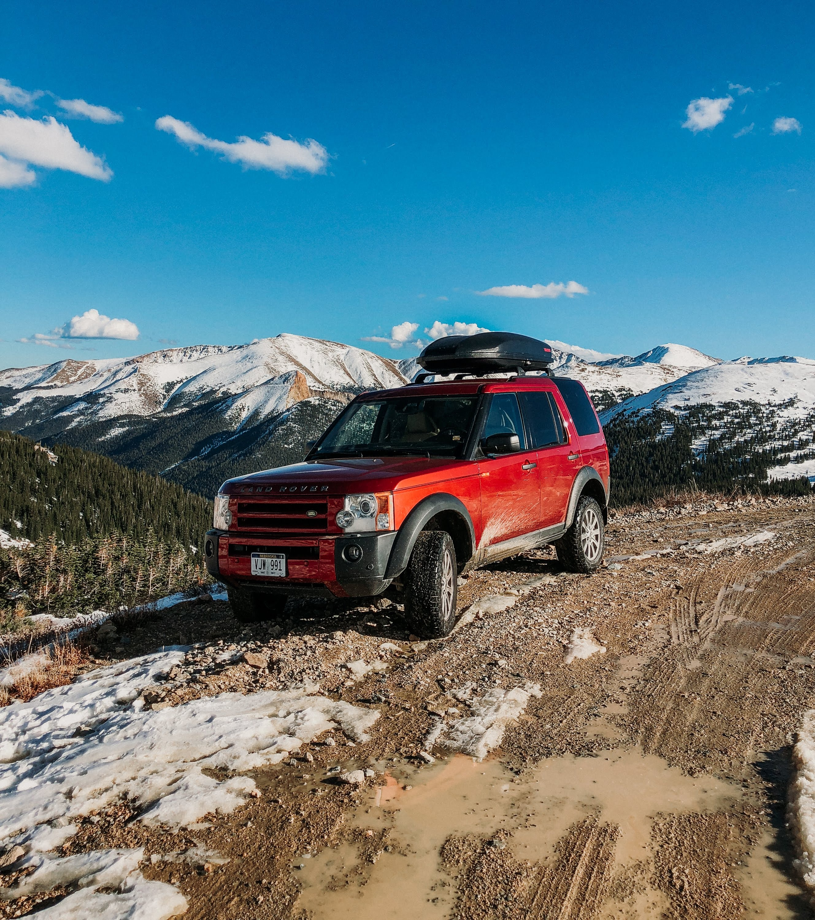 red Land Rover SUV