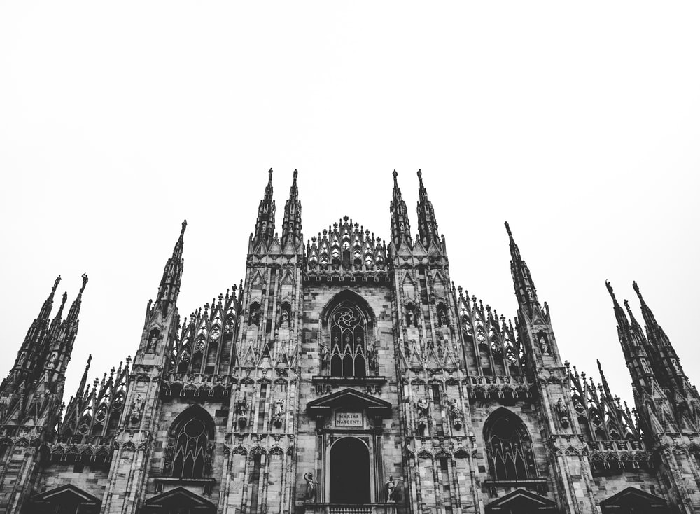 grayscale photography of cathedral during daytime