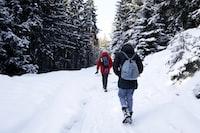 two people walking on trek covered in snow