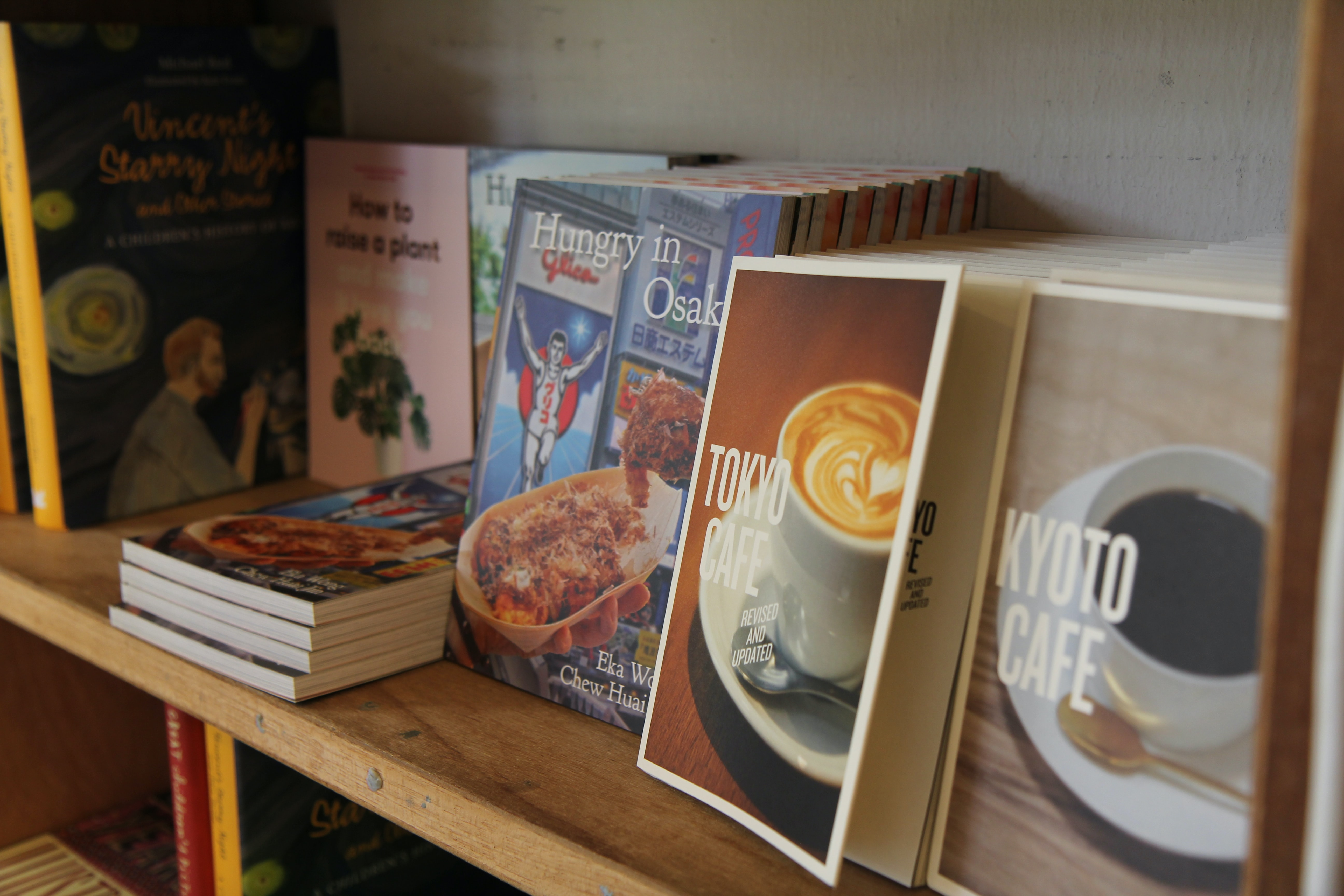 assorted book lot on brown wooden shelf