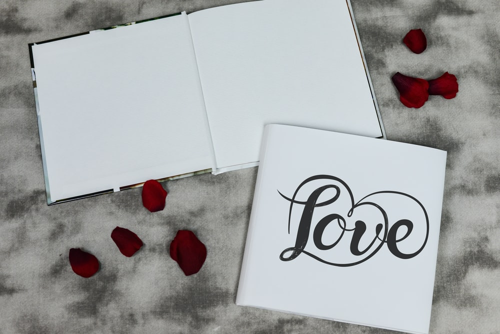 white printer paper with love text
