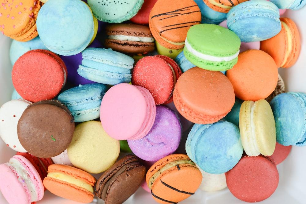 high-angle photography of French macarons