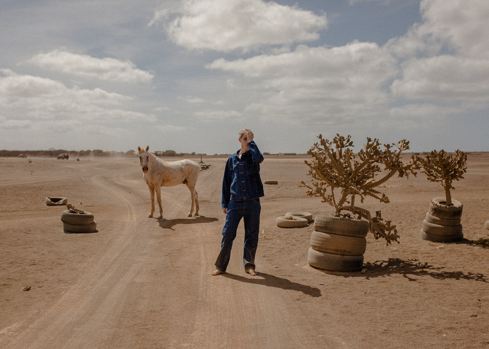 man standing beside horse and plants