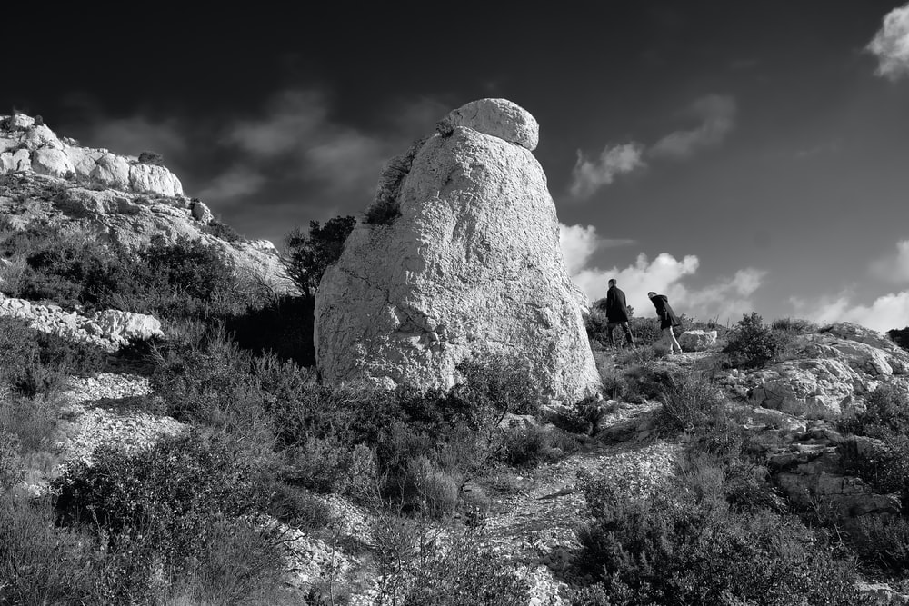 grayscale photography of rock