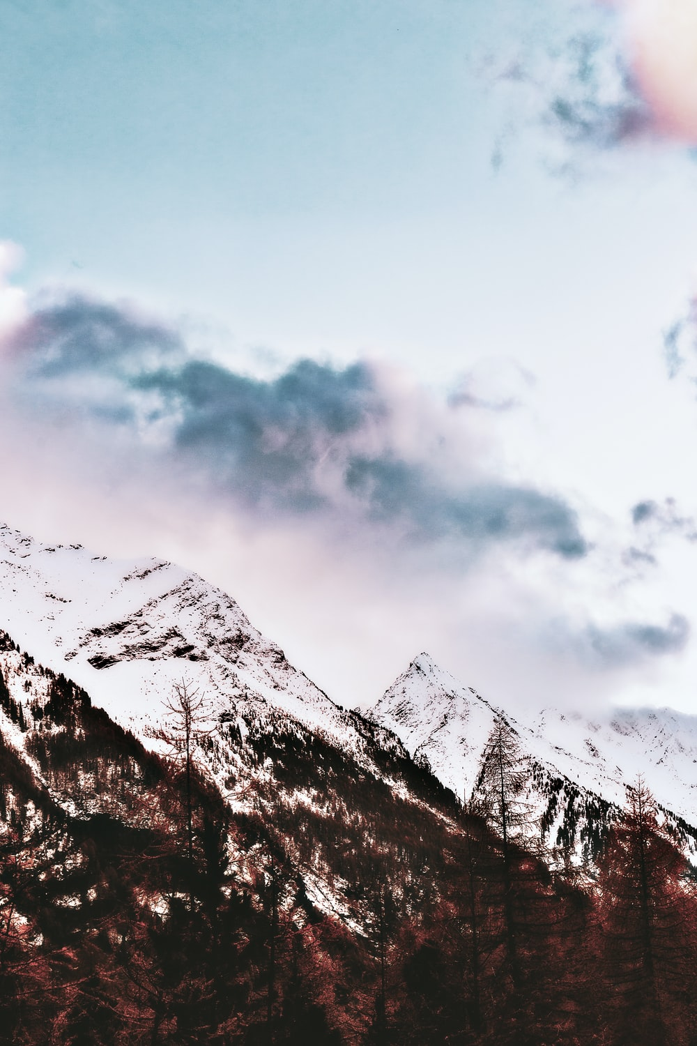 mountain covered snow