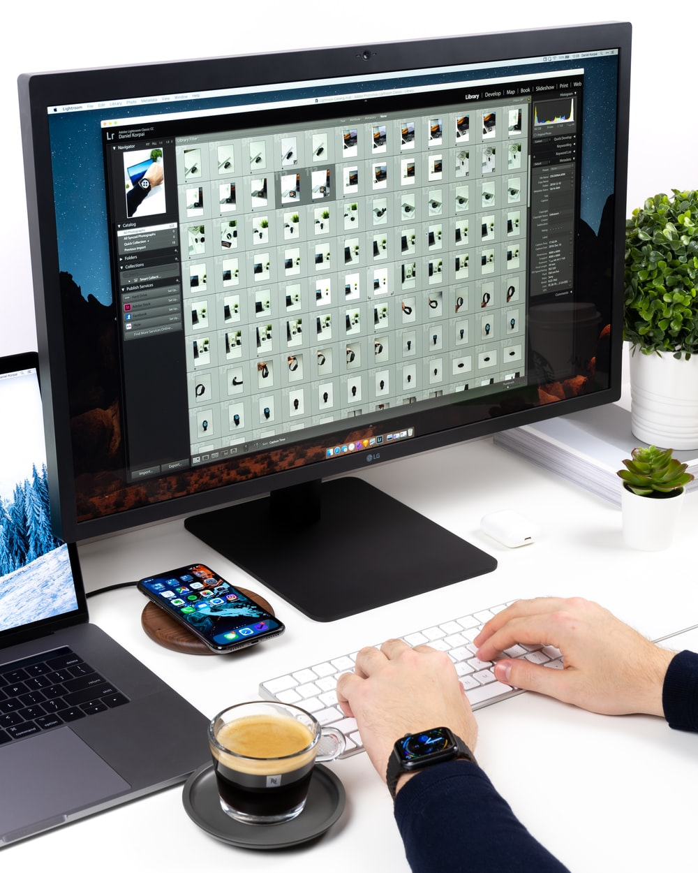 person using Apple magic keyboard