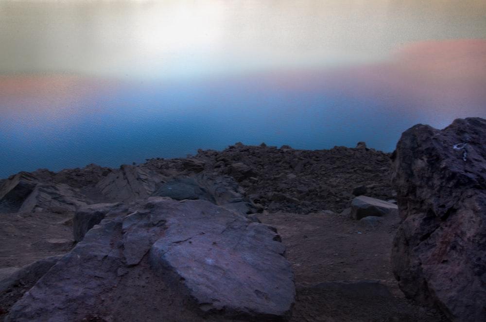 gray rocks under gray sky