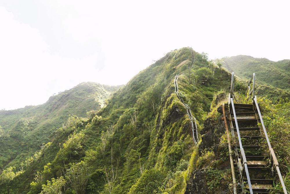 staircase on mountain ranges