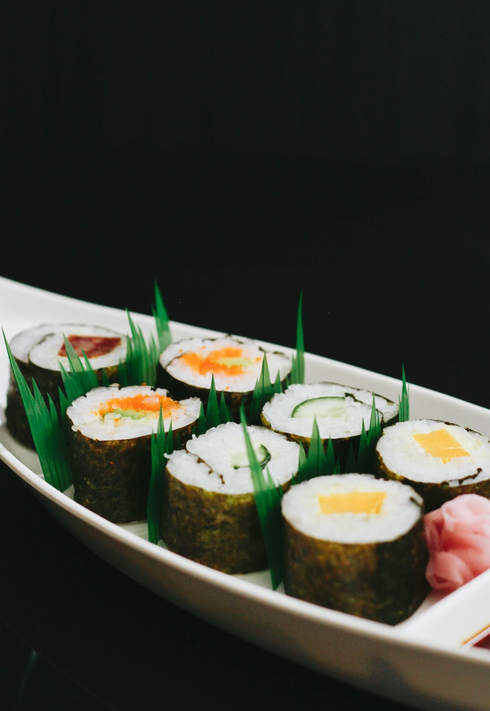 neatly presented sushi on plate