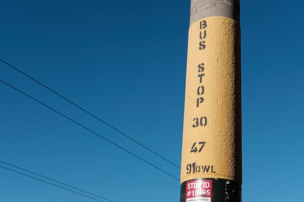 Bus Stop 30 47 painted concrete pillar