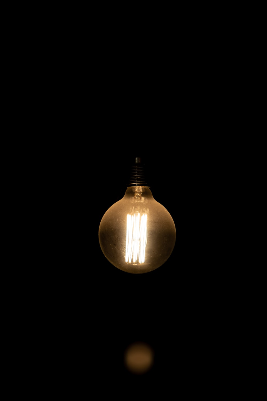 turned-on light bulb