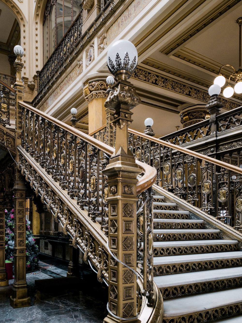 brown wooden stair rail