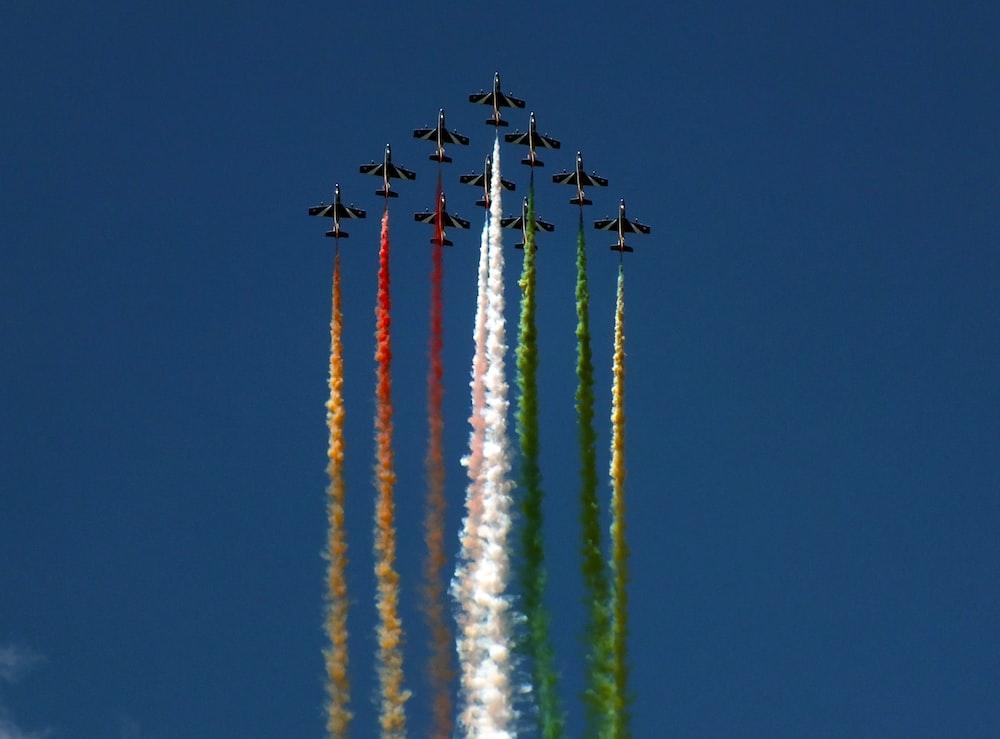 jet planes on mid air