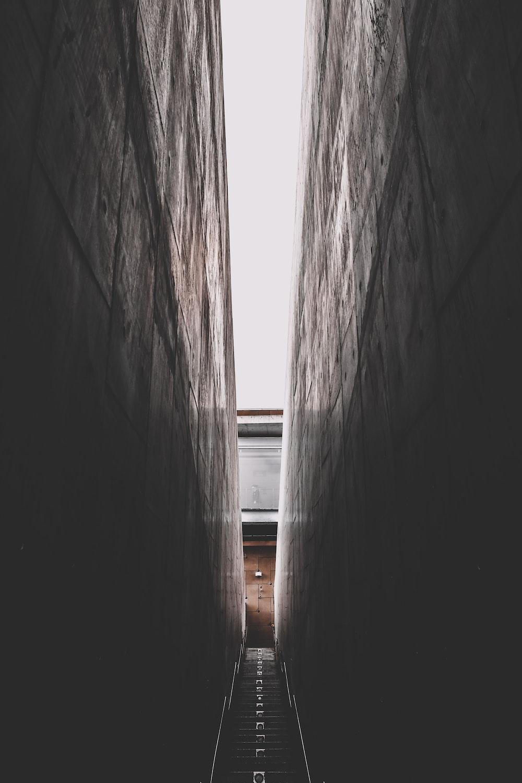 hallway under white sky