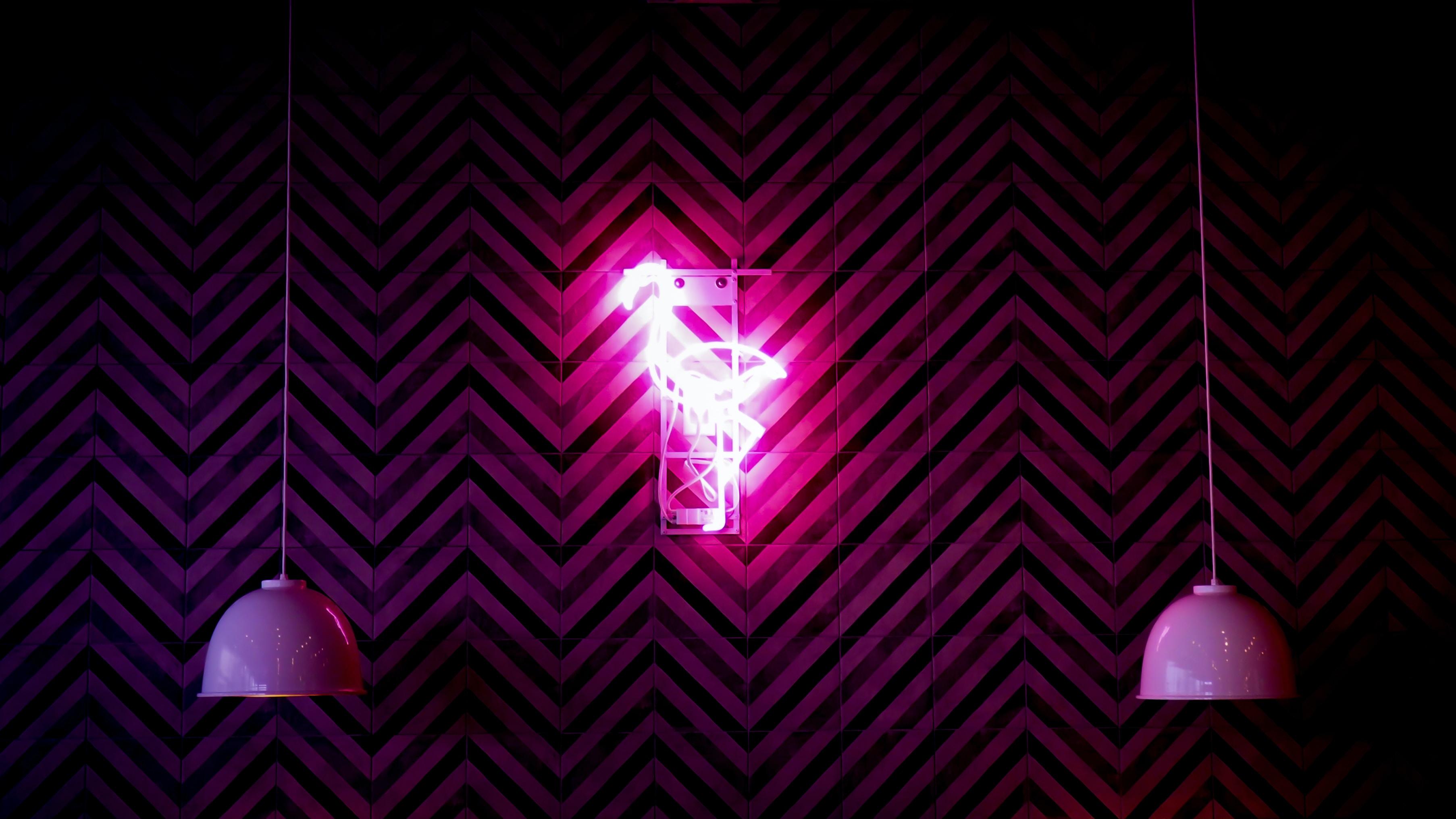 lighted pink flamingo wall light