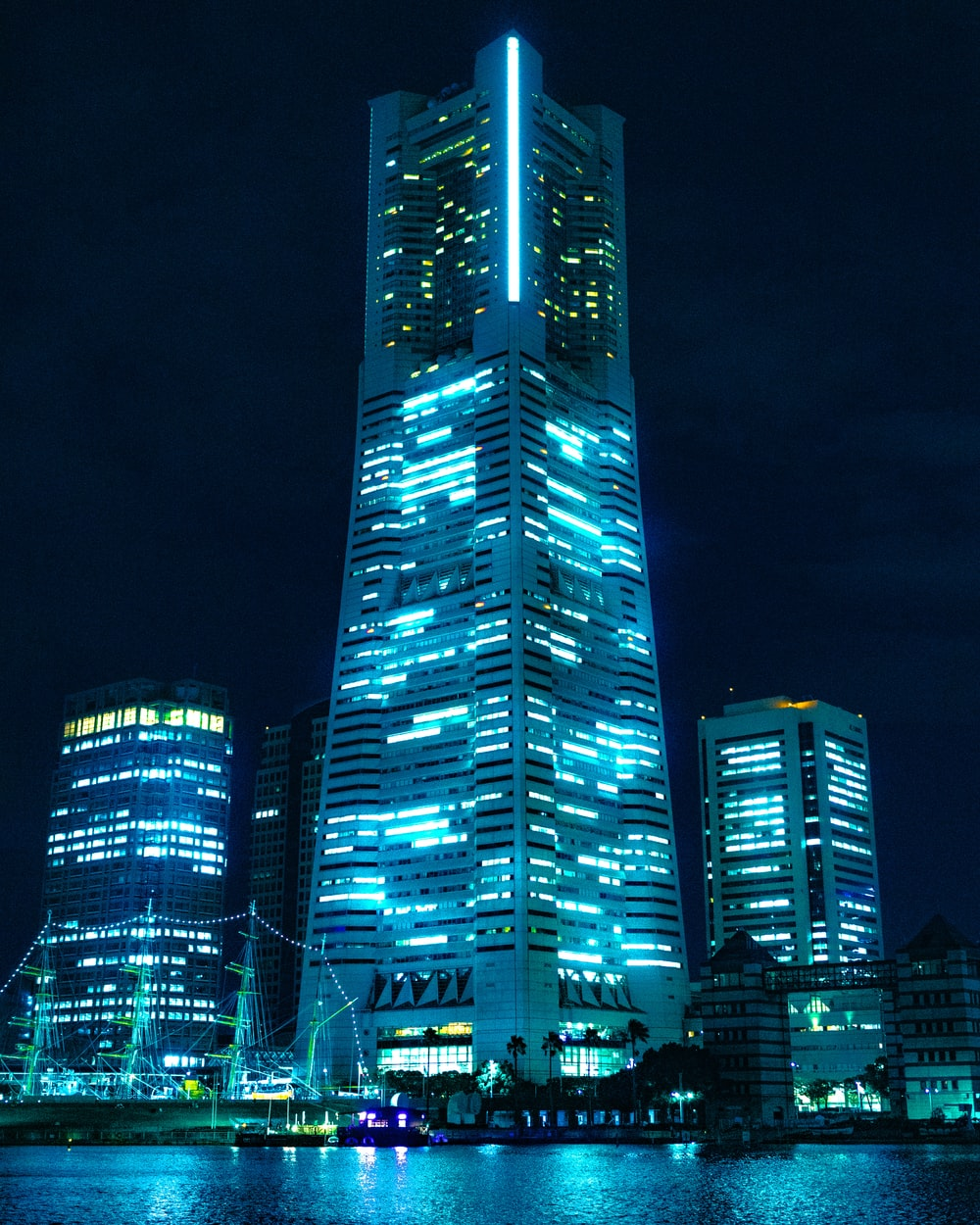 lighted mid-rise and highrise buildings