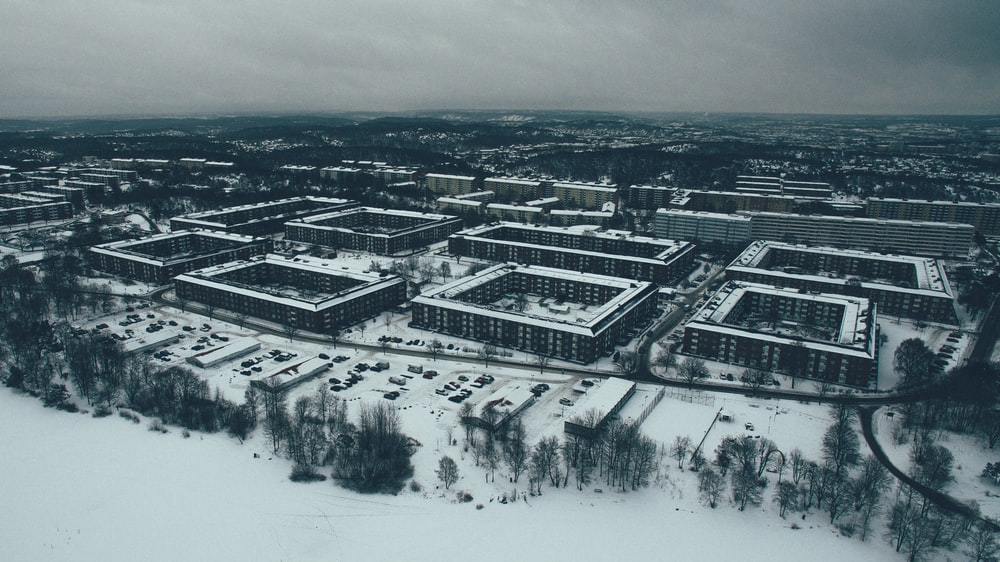 buildings covered in snow