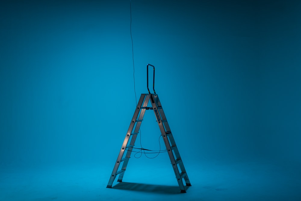 black A-frame ladder