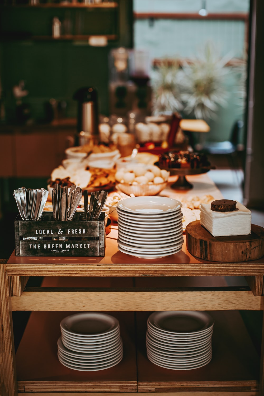 dinnerware set on table