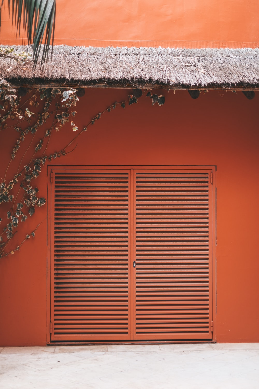 closed orange door