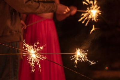 man and woman holding sparklers diwali zoom background