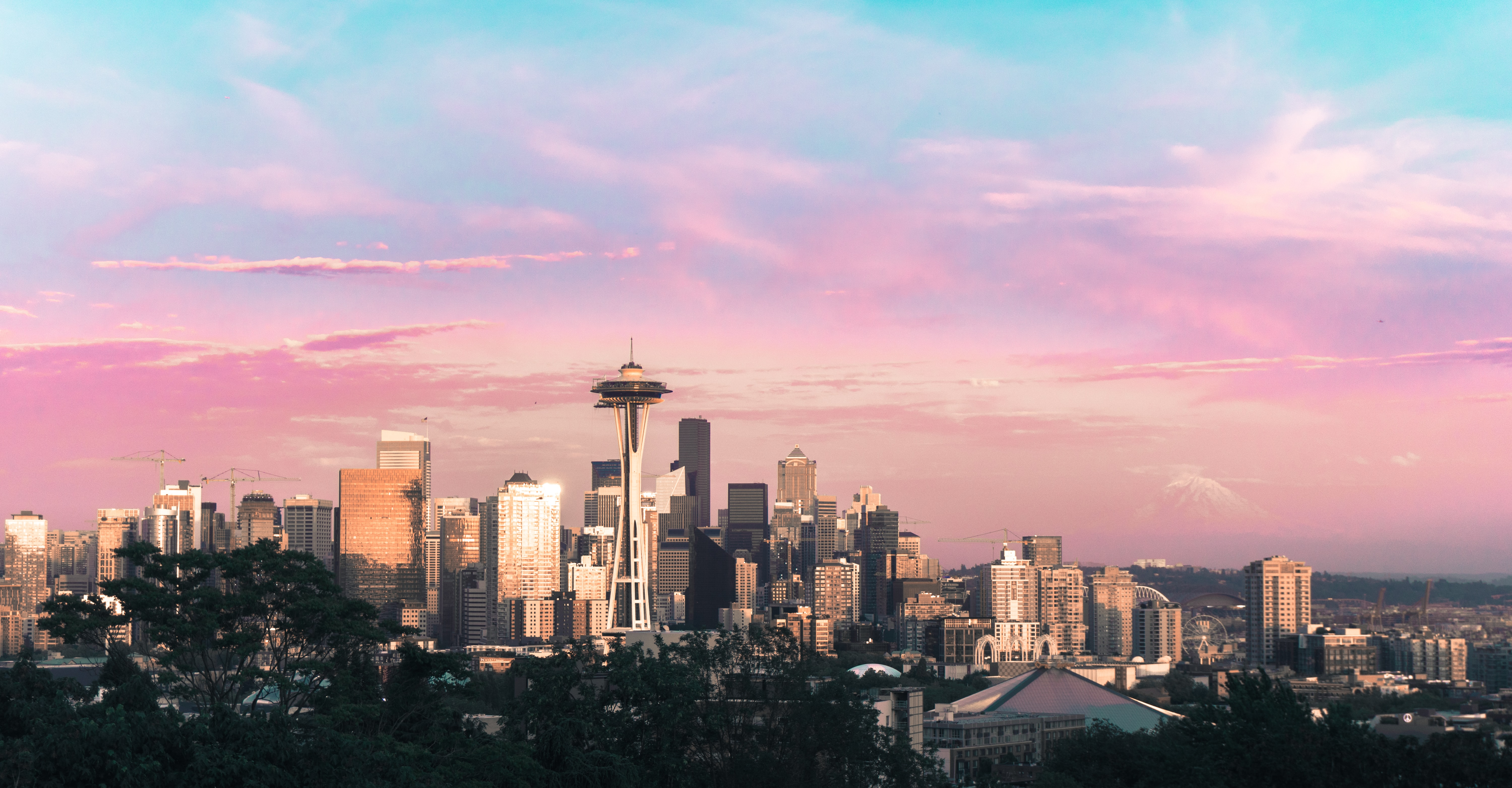 highrise buildings under pink and blue sky during daytime