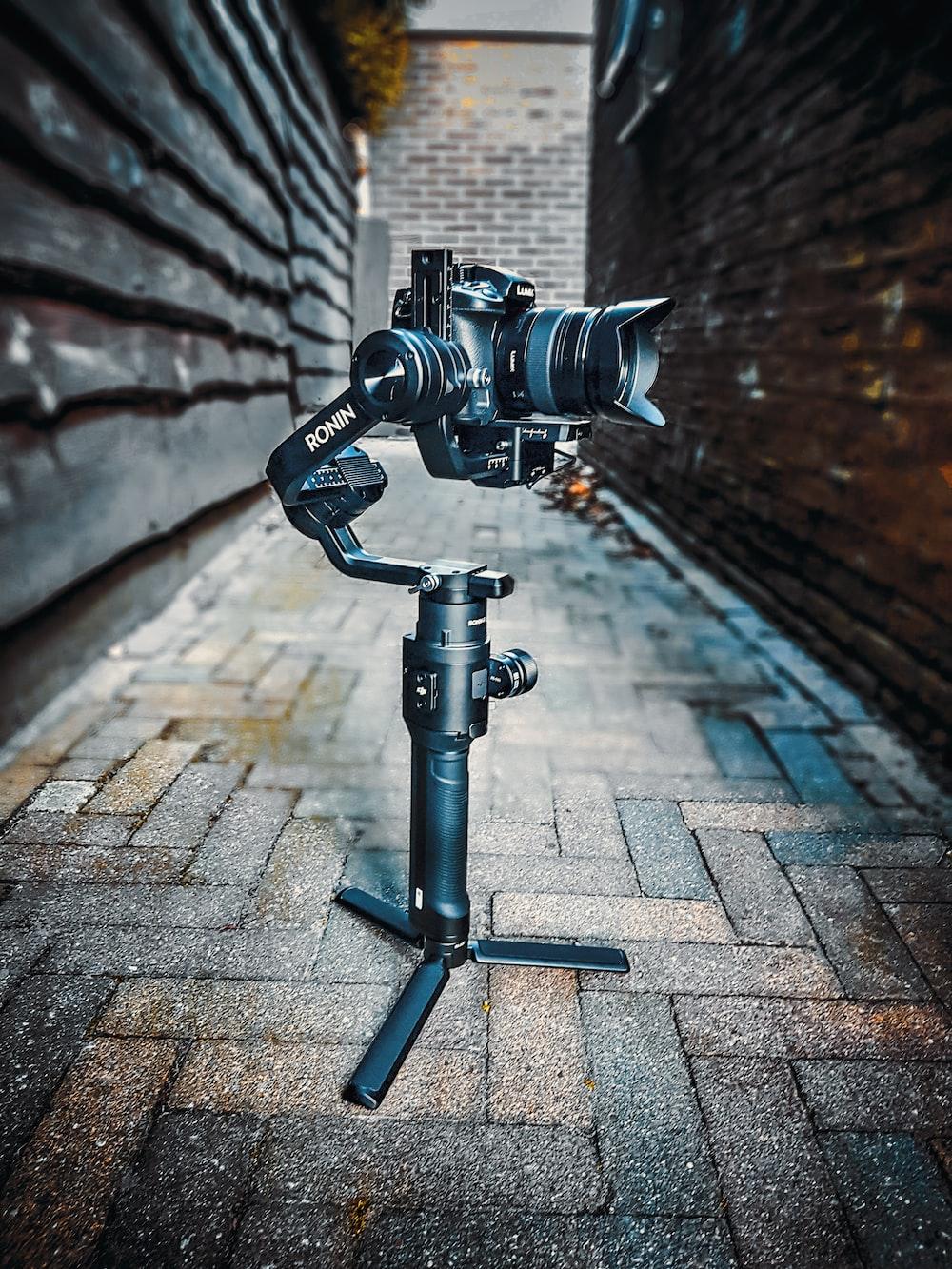 black studio camera in between building