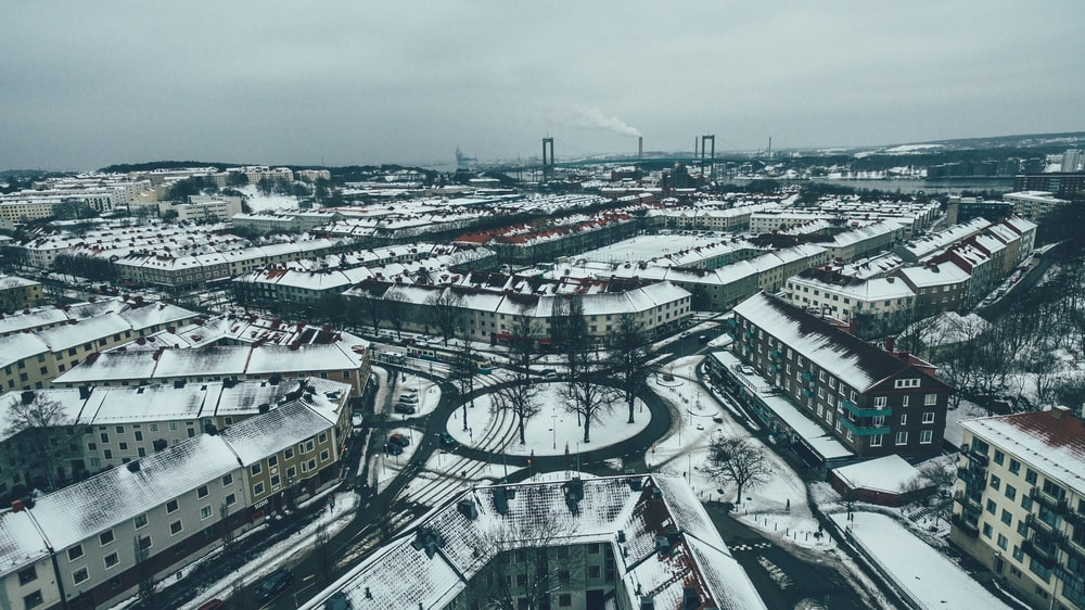 aerial view of building covered by snow
